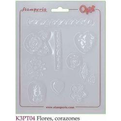 MOLDES FLORES CORAZONES Y NIÑO K3PT04