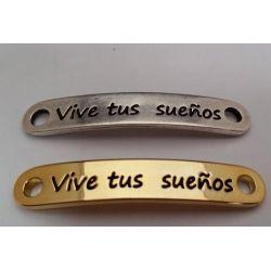 """CHAPA 35X6MM CON AGUJERO DE 2.5MM  """"VIVE TUS SUEÑOS"""""""